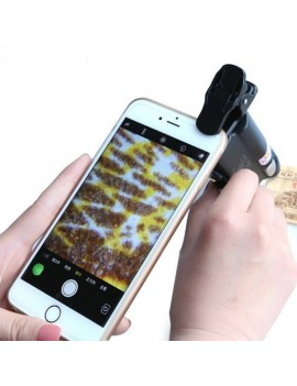 60 - 100 Times Universal Mobile Phone Clip Magnifying Glass Portable Microscope