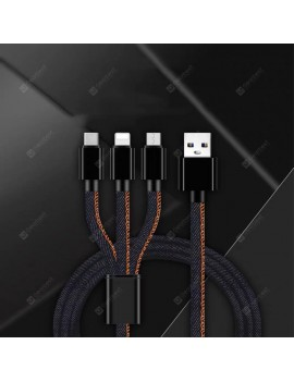 3-in-1 Type-C Denim Data Line for iPhone / Android