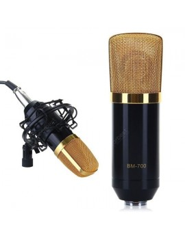 BM-700 Condenser Sound Recording Microphone and Plastic Shock Mount for Radio Broadcasting Studio Voice Recording