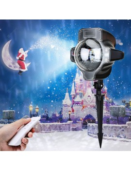 Lampwin Snow Lamp Snowflake Projector Light Waterproof Landscape Projection Decoration for for Halloween, Christmas, New Year, with Remote Controller