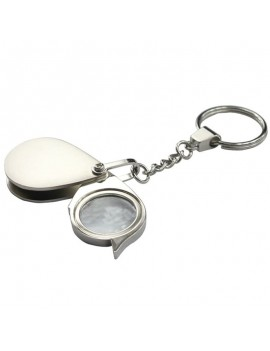5 Times 30mm Stainless Steel Handle Folding Key Ring Pocket Magnifier