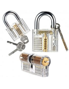 HakkaDeal 3PCS Transparent Practice Padlock Training Tools