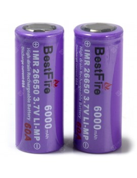 26650 6000mAh 3.7V Rechargeable Li-ion Battery 2PCS