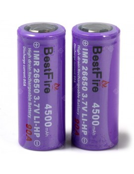 2 x BestFire IMR 26650 4500mAh 3.7V Rechargeable Li-ion Battery LI-HP 90A