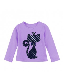 Cute Cat Print Girls Long Sleeve Cotton T-Shirt For 1Y-7Y
