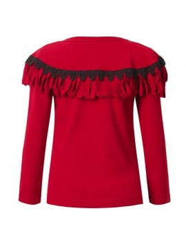Baby Children Girl Tassels Two Layered Lacr-up O-neck Long Sleeve T-shirt