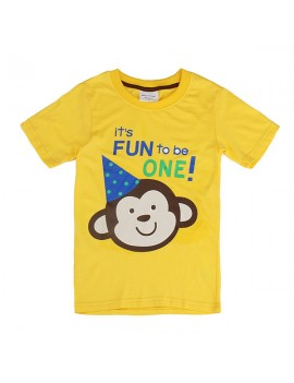Monkey Children Boy Pure Cotton Short Sleeve T-shirt Top