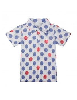 Little Maven Lovely Polka Dot Printed Baby Boy Cotton Short Sleeve T-shirt Top
