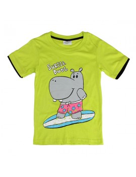 Hippo Baby Children Boy Pure Cotton Short Sleeve T-shirt Top