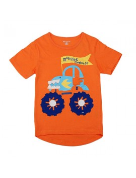 Little Maven Orange Lovely Car Boy Cotton Short Sleeve T-shirt Top