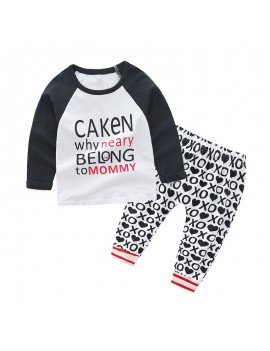 2Pcs Letter Print Baby Boys Casual Sets For 0-2Years