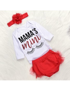 3Pcs Girls Letter Printed Comfy Cotton Outfits Set For 0-18M
