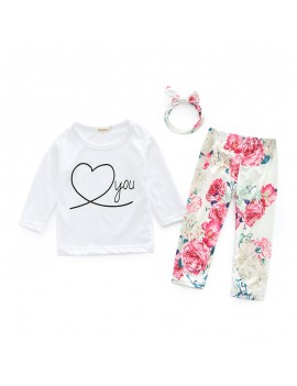 3Pcs Floral Baby Girls Long Sleeve Sets For 0-24M