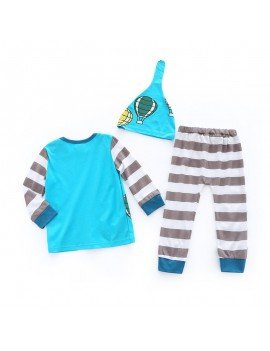 3Pcs Casual Print Baby Top Striped Pants Hat Set For 0-2Years