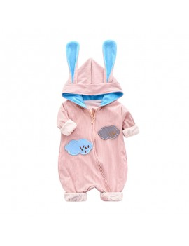 Cute Baby Hooded Zipper Jumpsuit For 0-24M