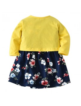 2pcs Floral Baby Girls Romper Dresses with Coat Clothing Set For 0-36M
