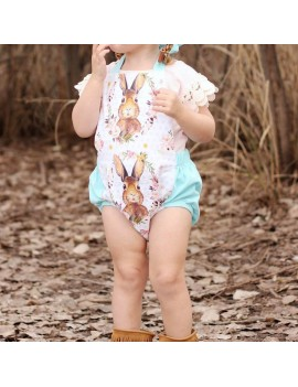 Bunny Printed Baby Girls Backless Jumpsuit Romper For 0-24M