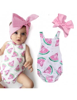 Baby Girls Watermelons Print Backless Ruffle Bodysuit With Headband