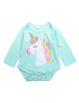 Animal Pattern Cute Girls Long Sleeve Romper For 0-24M
