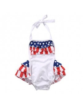 Cute Flag Pattern Backless Strap Baby Rompers For 0-24M
