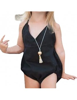 Black Cotton Strap Baby Girls Romper For 0-24M