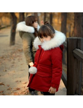 Girls Winter Coats Kids Detachable Fur Thicken Jackets For 3Y-15Y