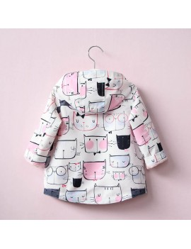 Cat Printed Girl Jacket Trench Coat Hooded Cute Children Outwear For Kids Clothes Girl Jacket
