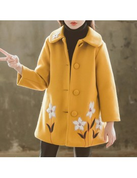 Flower Embroidery Girls Winter Coats Kids Thicken Jackets For 3Y-13Y