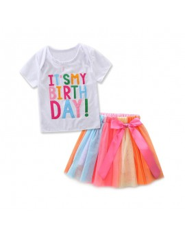 2Pcs Toddlers Girls Colorful Letter Tops Shirt+Lace Skirt Kids Birthday Outfits Set For 1Y-9Y