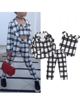 3Pcs Girls Clothing Set Grid Print Coat +Tops + Pant For 3-13Y