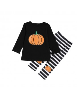 2Pcs Pumpkin Print Girls Casual Set Tops + Pants Clothing Set For 2Y-7Y