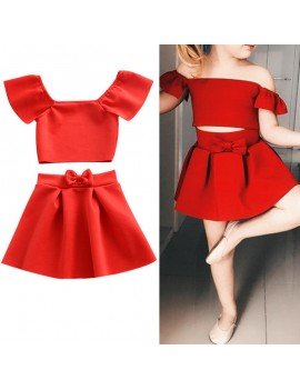 2Pcs Red Off Shoulder Girls Summer Skirt Set For 1Y-5Y