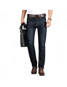 Black Milltary Bussiness Casual Straight Thin Jeans for Men