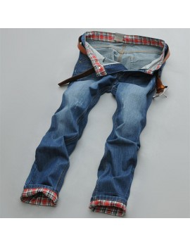 Mens Stylish Korean Design Straight Slim Fit Blue Jeans