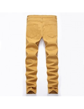 Khaki High Elastic Knee Zipper Opening Holes Ripped Jeans for Men
