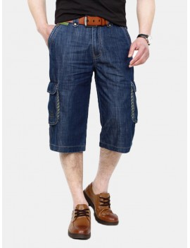 Casual Loose Straight Leg Thin Cotton Short Multi Pockets Jeans for Men