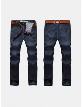 Casual Business Straight Leg High Elastic Solid Color Thin Loose Jeans for Men