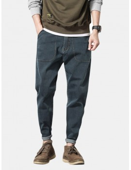 Loose Solid Color Casual Harem Pants Big Pockets Jean for Men