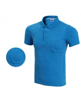 Men Summer Golf Shirt Multicolor Turn-down Collar Front Pocket Short Sleeve T Shirt