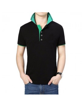 Mens Cool Summer Contrast Color Turn-down Collar Short Sleeve Golf Shirts