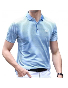80% Cotton Striped Short Sleeve Casual Golf Shirt for Men