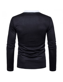 Mens Brief Style Golf Shirt Breathable Solid Color Slim Fit Long Sleeve Casual T Shirt