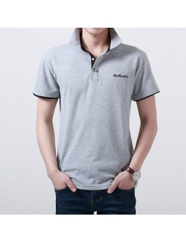 Mens Cotton Stand Collar Golf Shirt Summer Embroidery Button Short Sleeves T-shirt