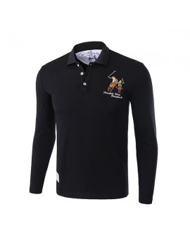 Mens Character Horse Embroidery Golf Shirt Turndown Collar Long Sleeve Casual Tee Tops