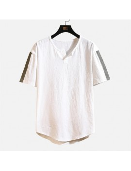 Mens Cotton Linen T-shirt Vintage V-neck Chinese Style Half-Sleeve Tops