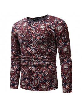 Mens Cashew Flowers Printing Crew Neck Long Sleeve Slim Fit Casual T shirt
