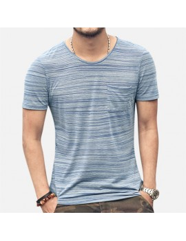 Mens Basic Breathable Striped Chest Pocket Casual Loose Brief T-shirt