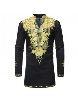 Mens African Ethnic Style 3D Printed Mid Long Stand Collar Long Sleeve Casual T Shirts