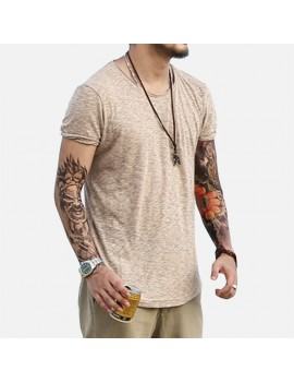 Mens Casual O Neck Short Sleeve Cotton Loose T shirt
