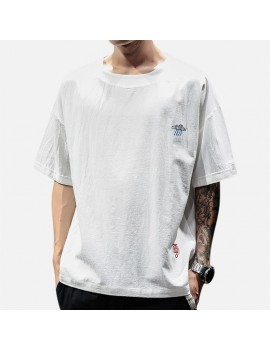 Mens Cotton Breathable Brief Embroidered Short Sleeve Crew Neck Casual Pullover T shirt